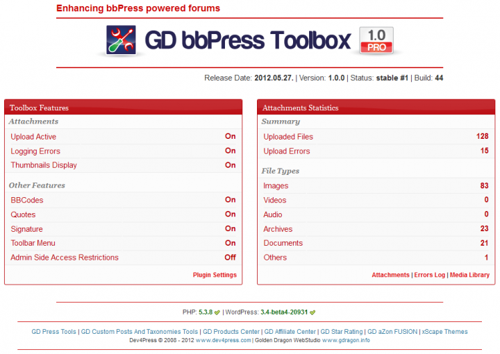 GD bbPress Toolbox: Front Page