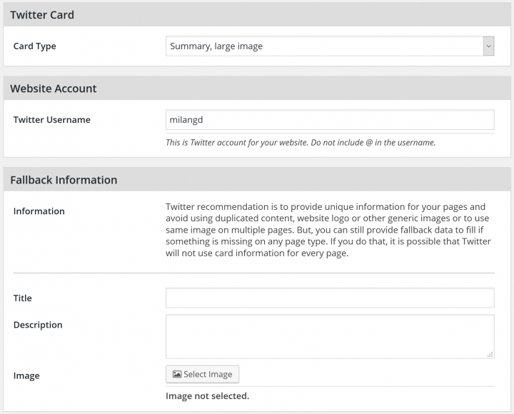 Twitter Cards Settings