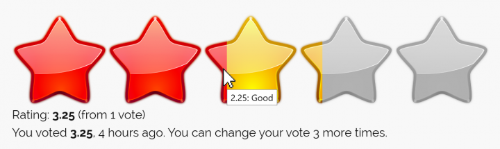 Example rating block using Crystal Stars images