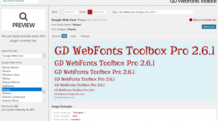 Fonts preview panel