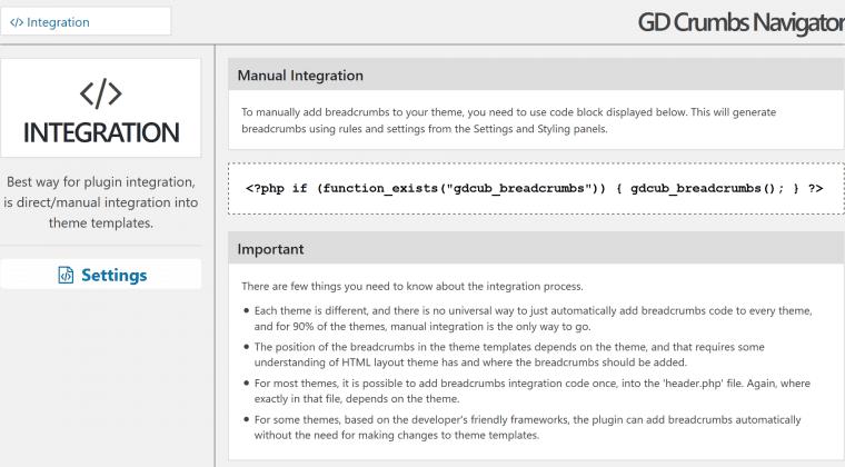 New integration information panel