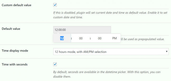Improved Time Field Settings