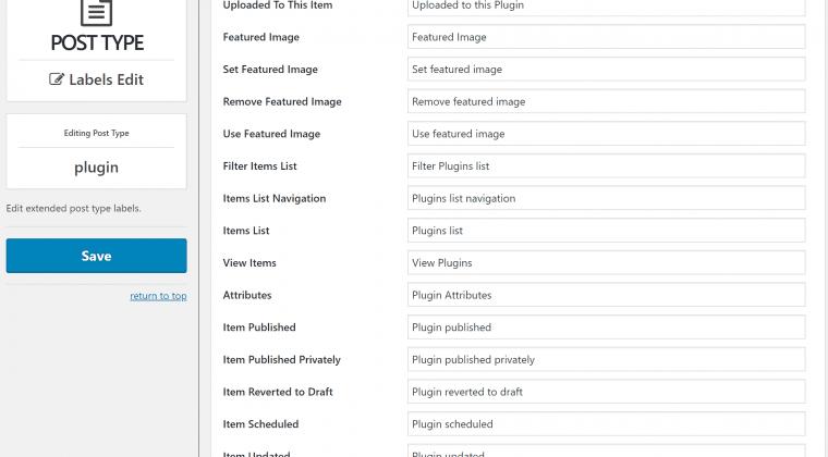Custom Post Type Labels
