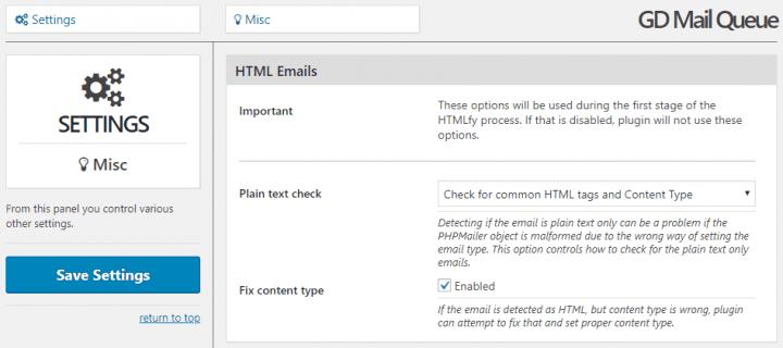 HTML related advanced settings
