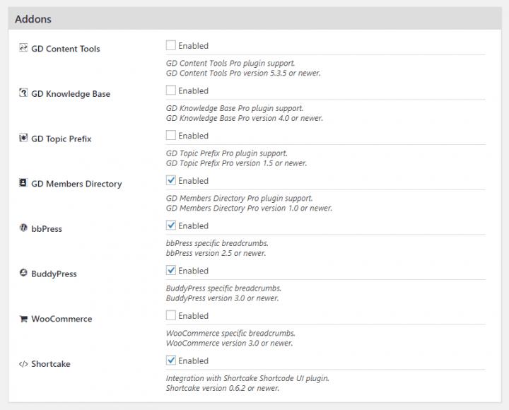 List of addons in version 2.6