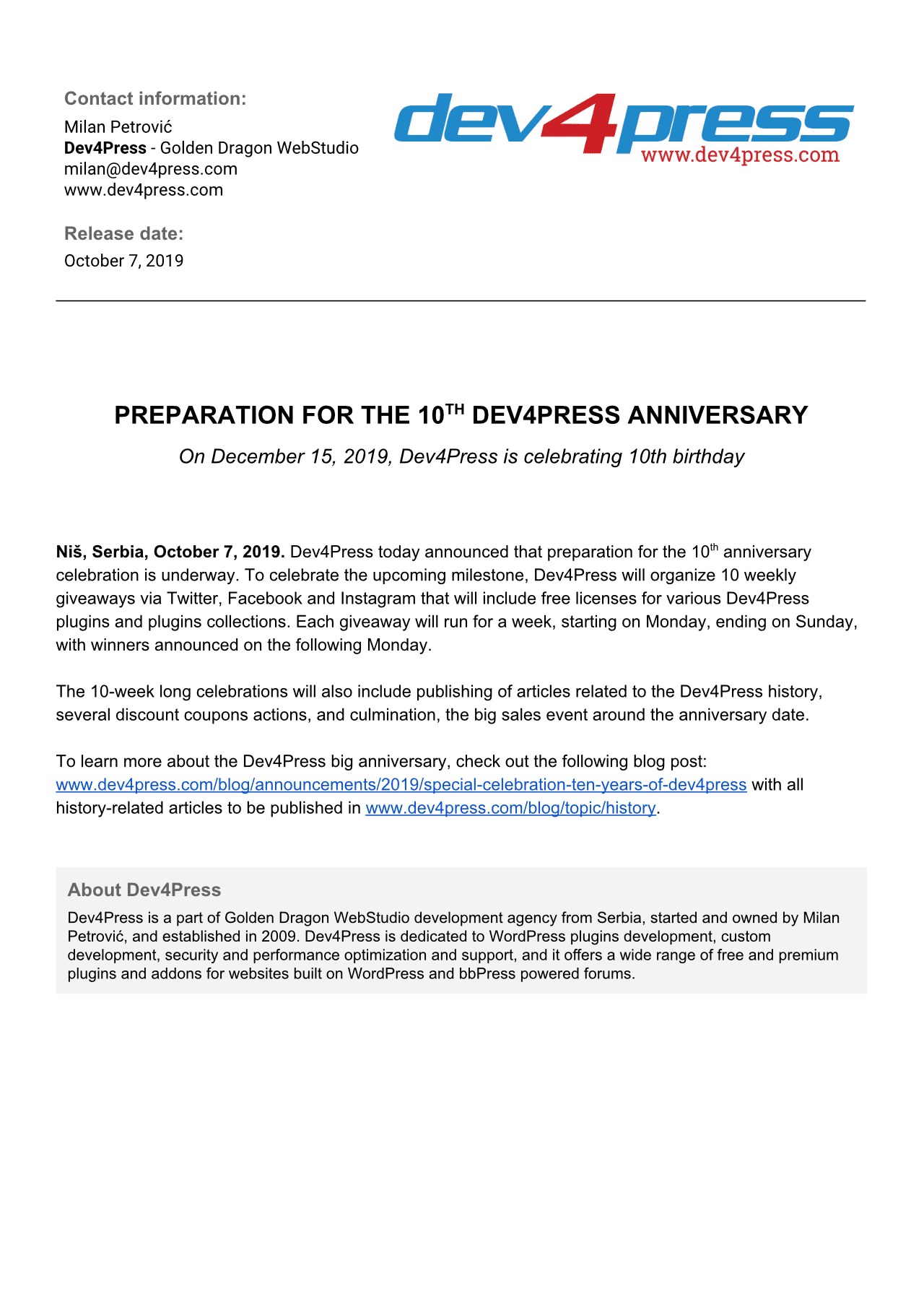 Featured image for: Preparation for the 10th Dev4Press Anniversary