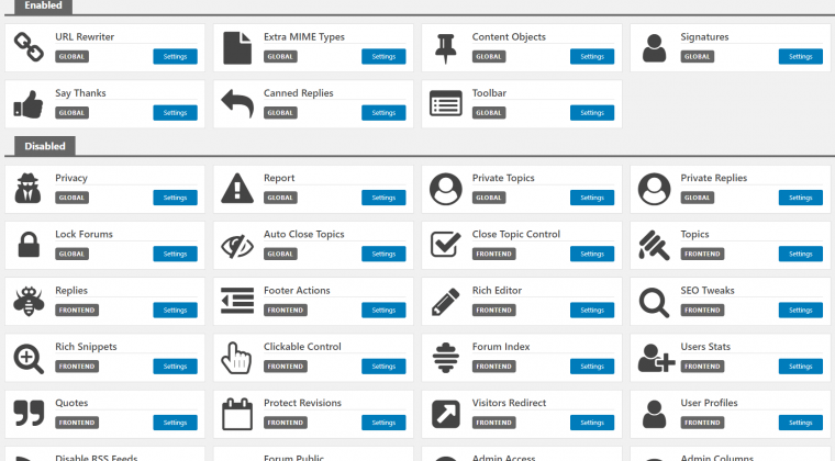 Features panel in version 6.0