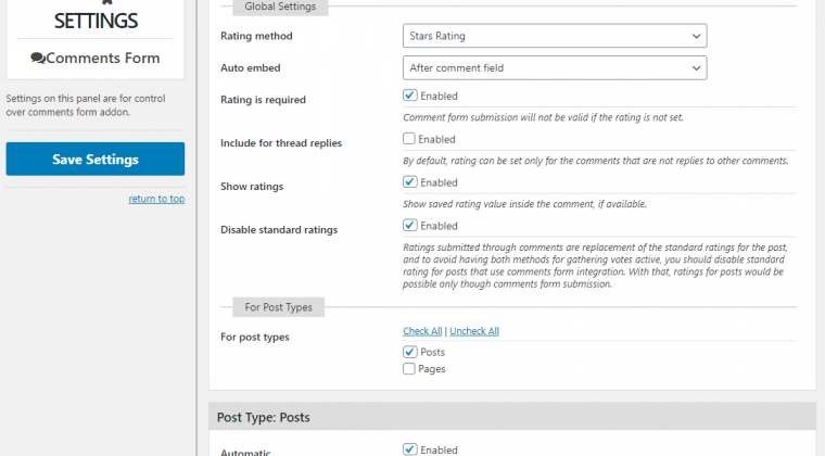 New Comment Form Addon Settings