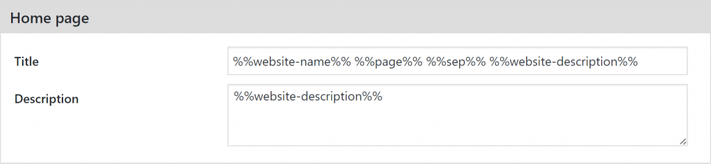 Meta data rule for Home page