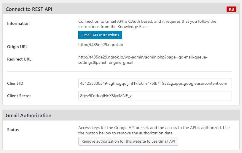 Authorized access to Gmail API
