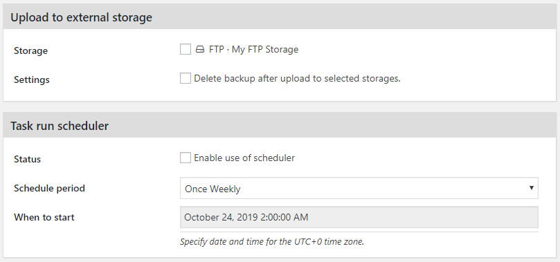 Backup Task - Storage and Scheduler