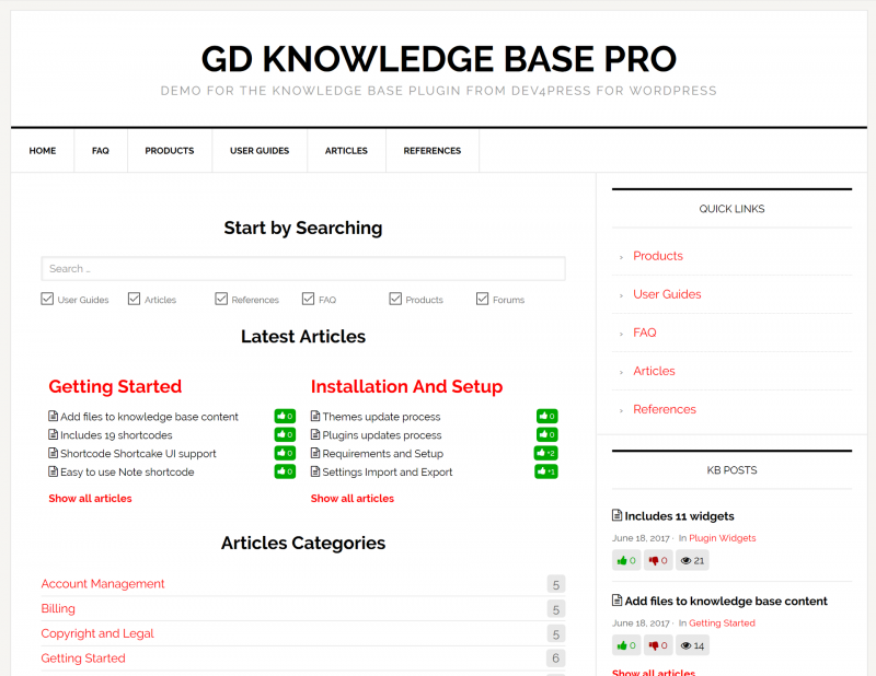 GD Knowledge Base Pro with News Pro theme