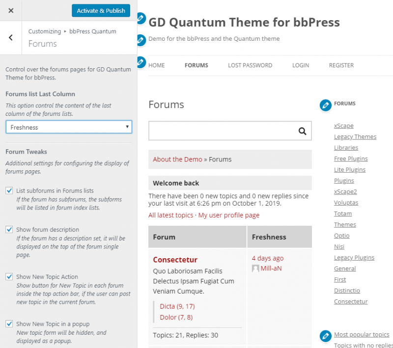 Customizer: Forums related settings